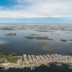Aerial shot of New York City and surrounding area