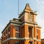 Historic government buildings in upstate New York at sunset